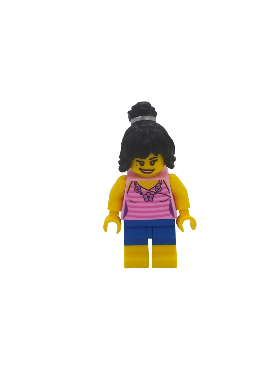 Cool figure with a pink shirt and black hair - Lego
