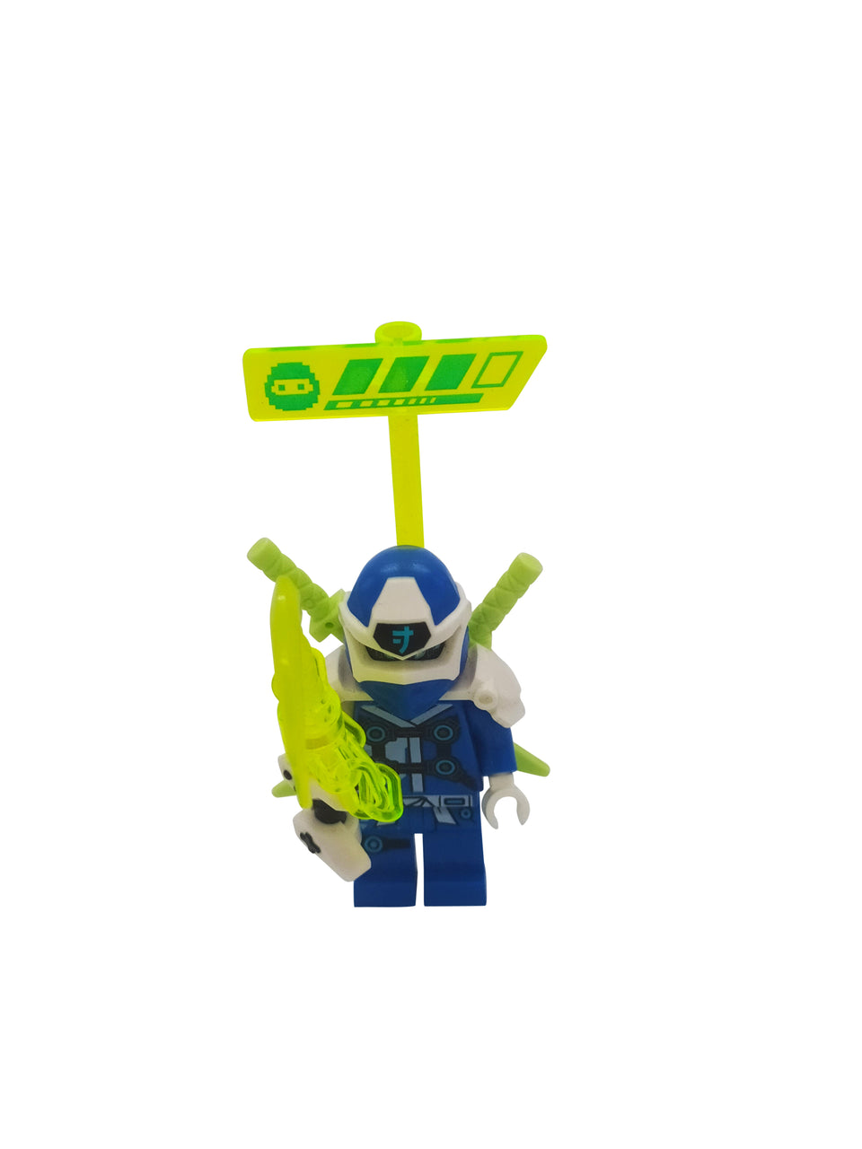 A special figure with 2 swords, a green sign and a glowing chain - lego