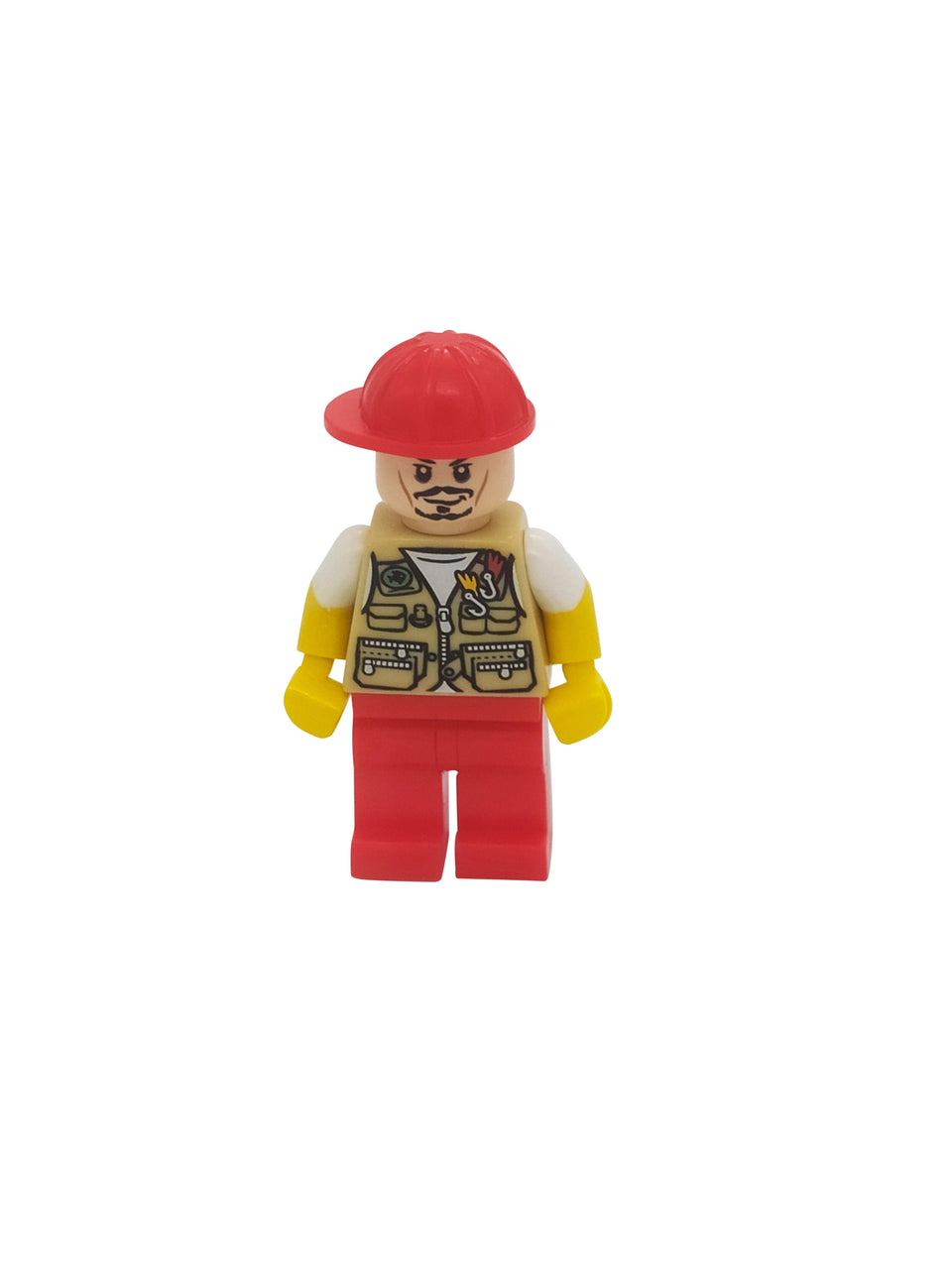A cool figure with a fishing shirt and red hat - Lego
