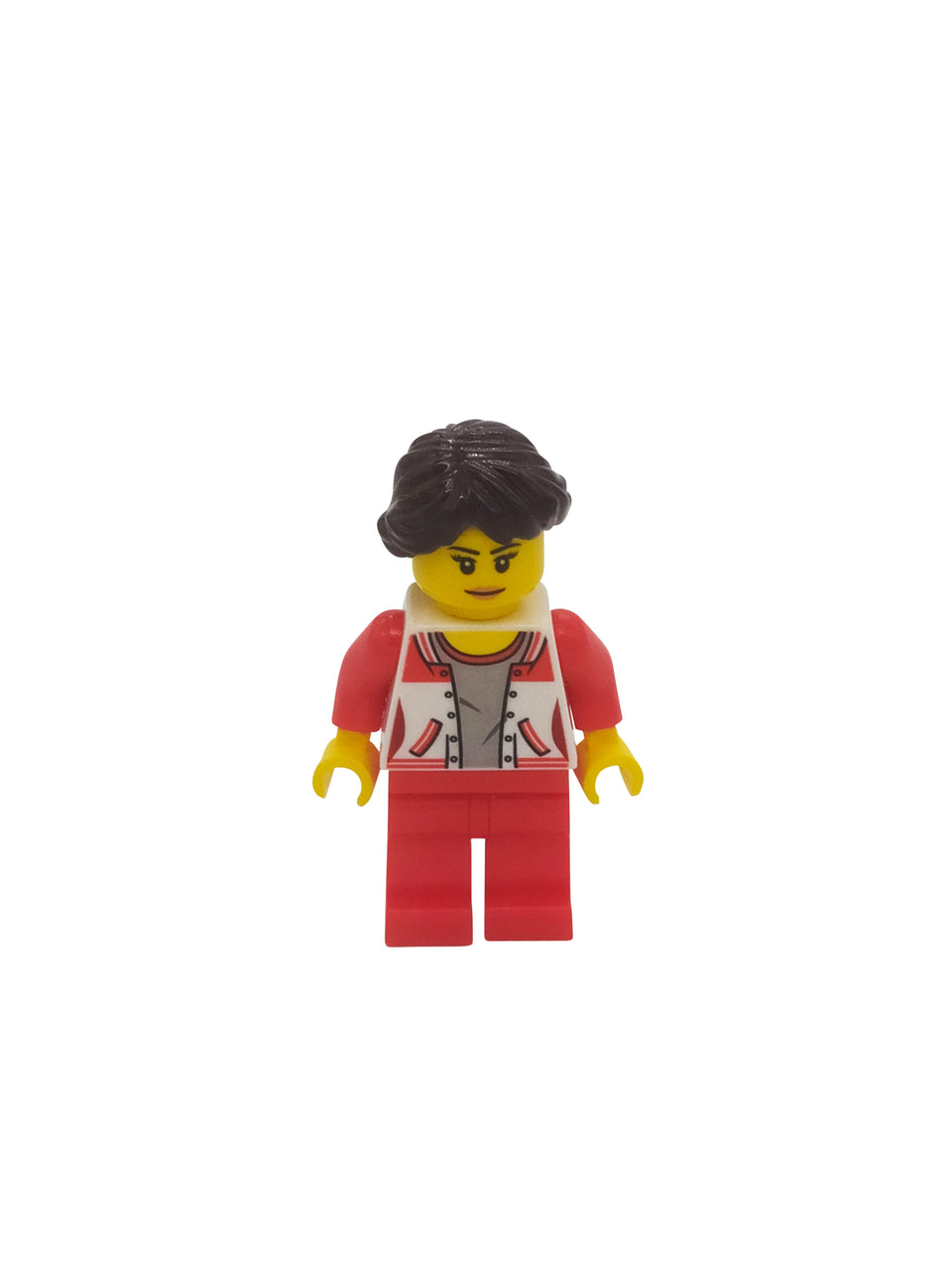 Woman figure in red suit and brown hair - Lego