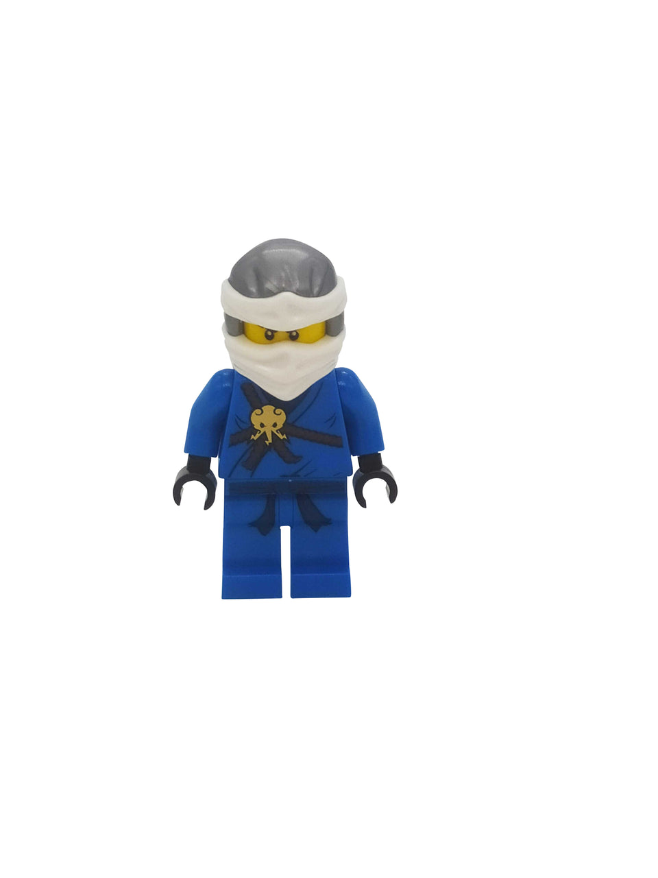 Blue ninja figure with gray and white mask - Lego