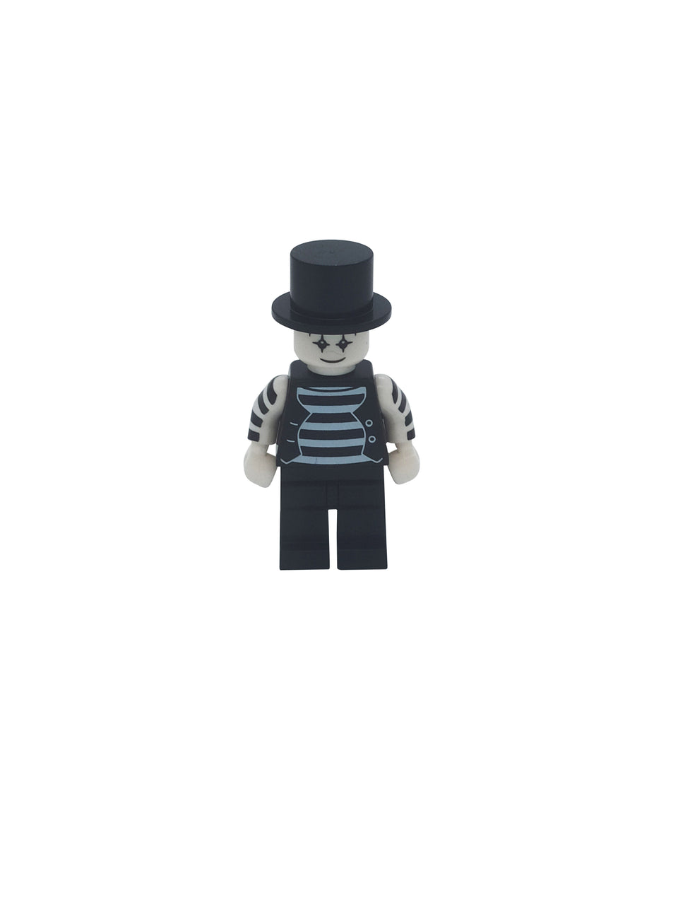 Character in a black and white suit with a tall black hat - Lego