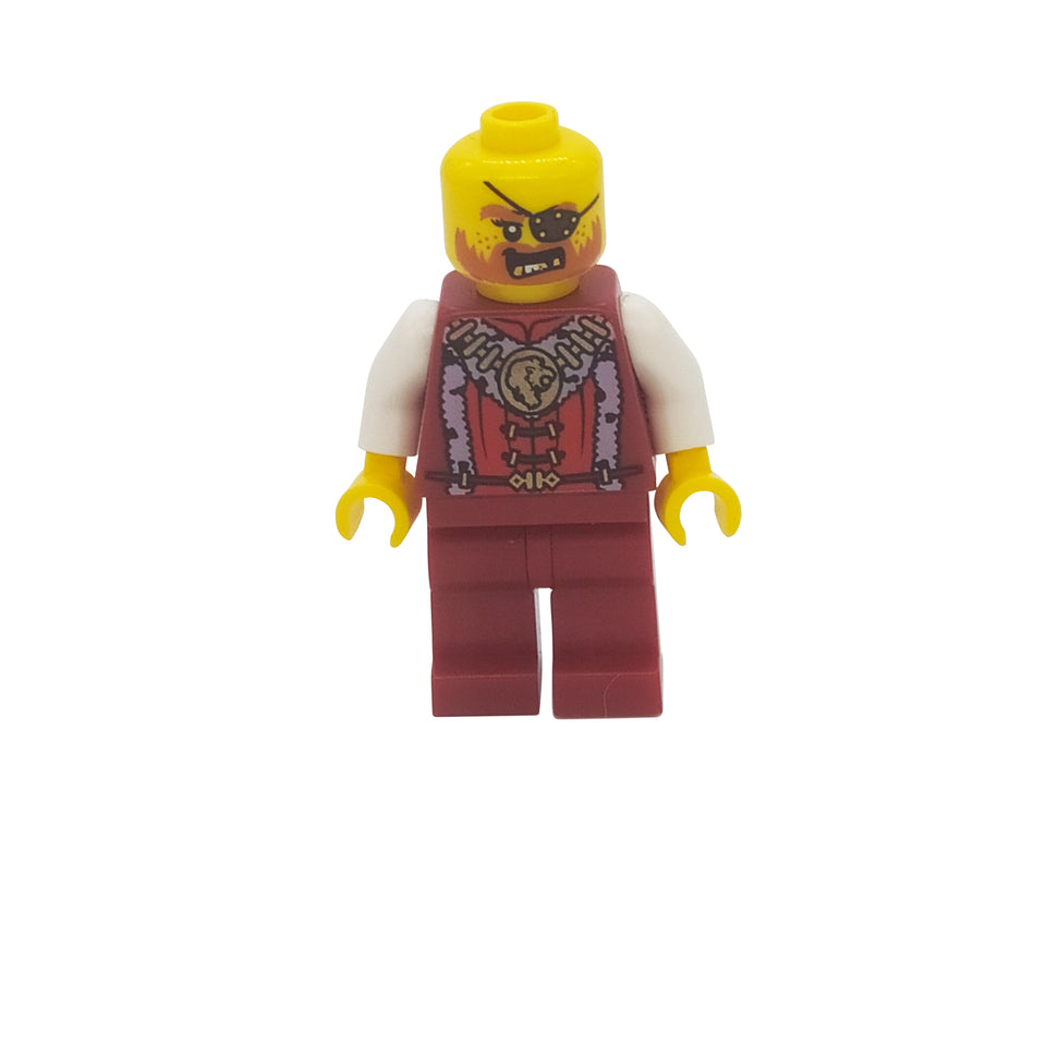 A guy with a burgundy suit, and no hair - Lego