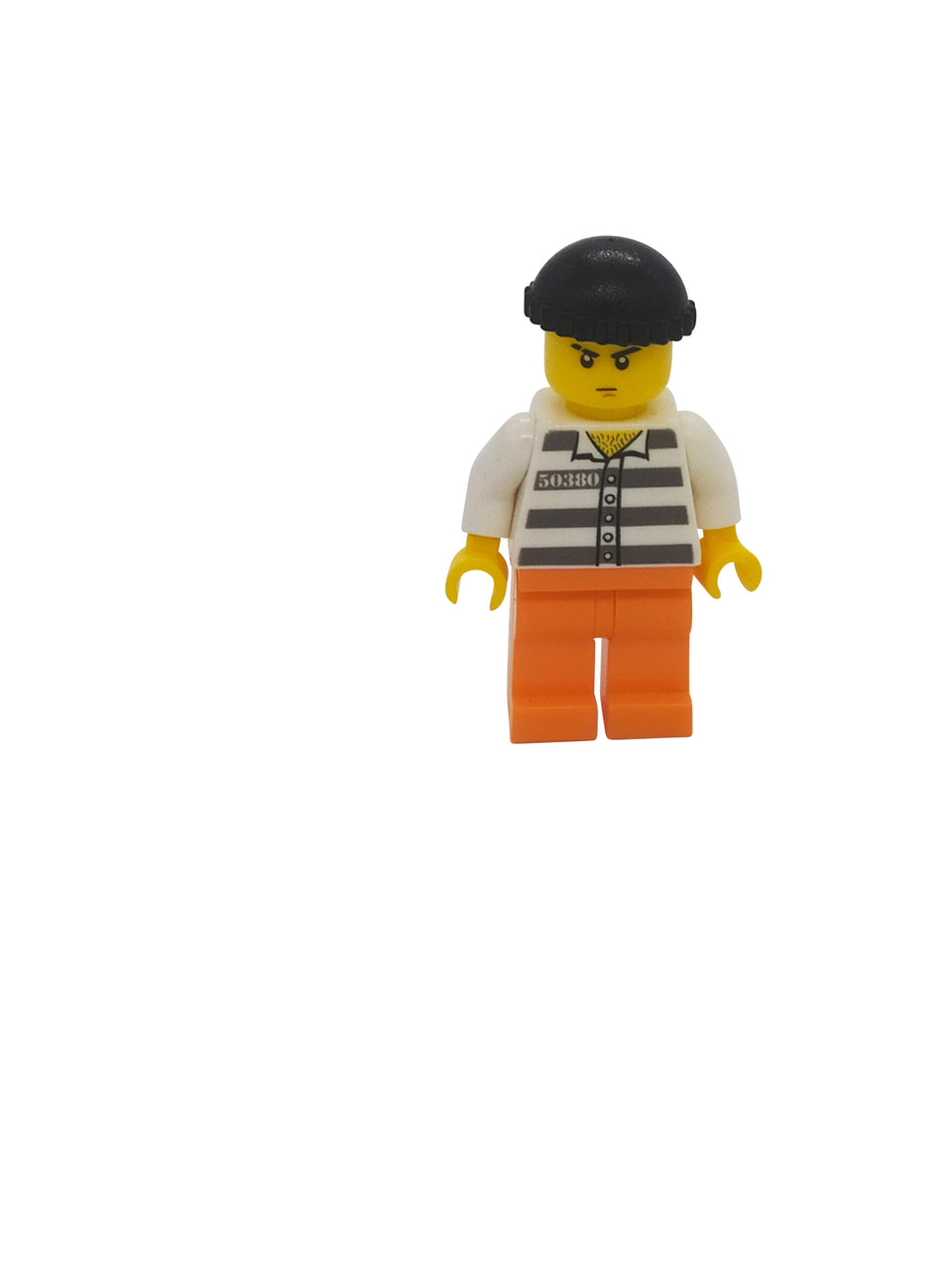 Sneaky figure with orange shorts and black hat - Lego