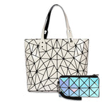 Baggies White Diamond Tote + Blue Rainbow Wallet
