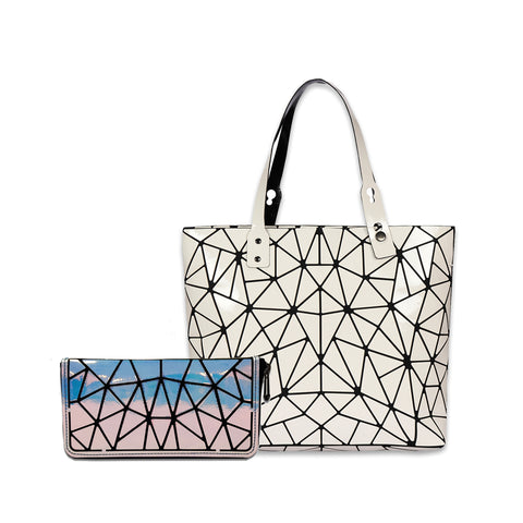 Baggies White Tote + Blue Rainbow Zipper Clutch (Combo)