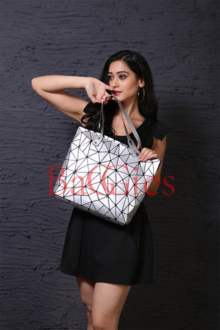 Baggies Silver Diamond Tote + Yellow Rainbow Wallet