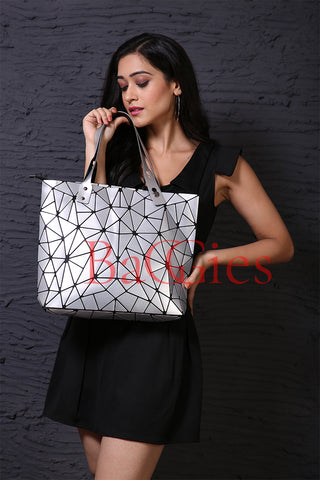 Baggies Silver Diamond Tote + Gold Wallet