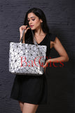 Baggies Silver Geometric Diamond Tote Bag