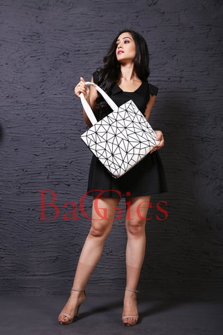 Baggies White Diamond Tote + Yellow Rainbow Wallet