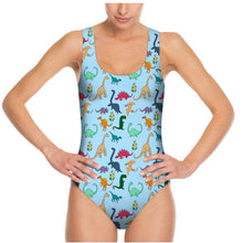 Load image into Gallery viewer, Colourful Dinosaur Sky Blue Swimsuit - Mermaid&Wild