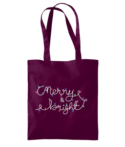 merry and bright tote bag - white text