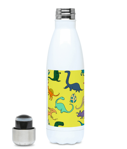 Colourful Dinosaurs Yellow 500ml Water Bottle - Mermaid&Wild