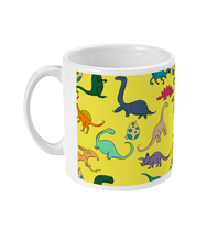 Load image into Gallery viewer, Colourful Dinosaurs Yellow Mug - Mermaid&Wild