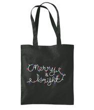 Load image into Gallery viewer, merry and bright tote bag - white text