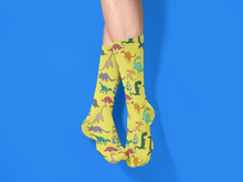 Load image into Gallery viewer, Yellow Dinosaur Unisex Socks