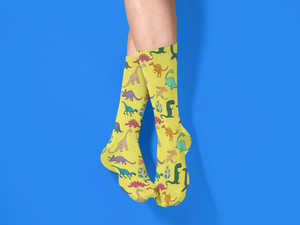 Yellow Dinosaur Unisex Socks