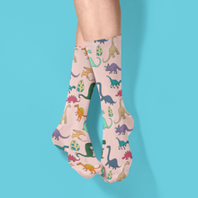 Load image into Gallery viewer, Peach Unisex Dino Socks