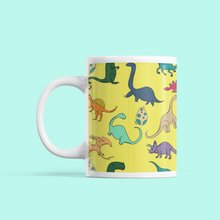 Load image into Gallery viewer, Colourful Dinosaurs Yellow Mug