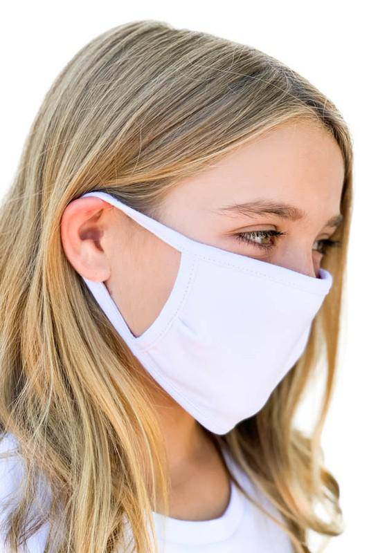 KIDS solid white face mask