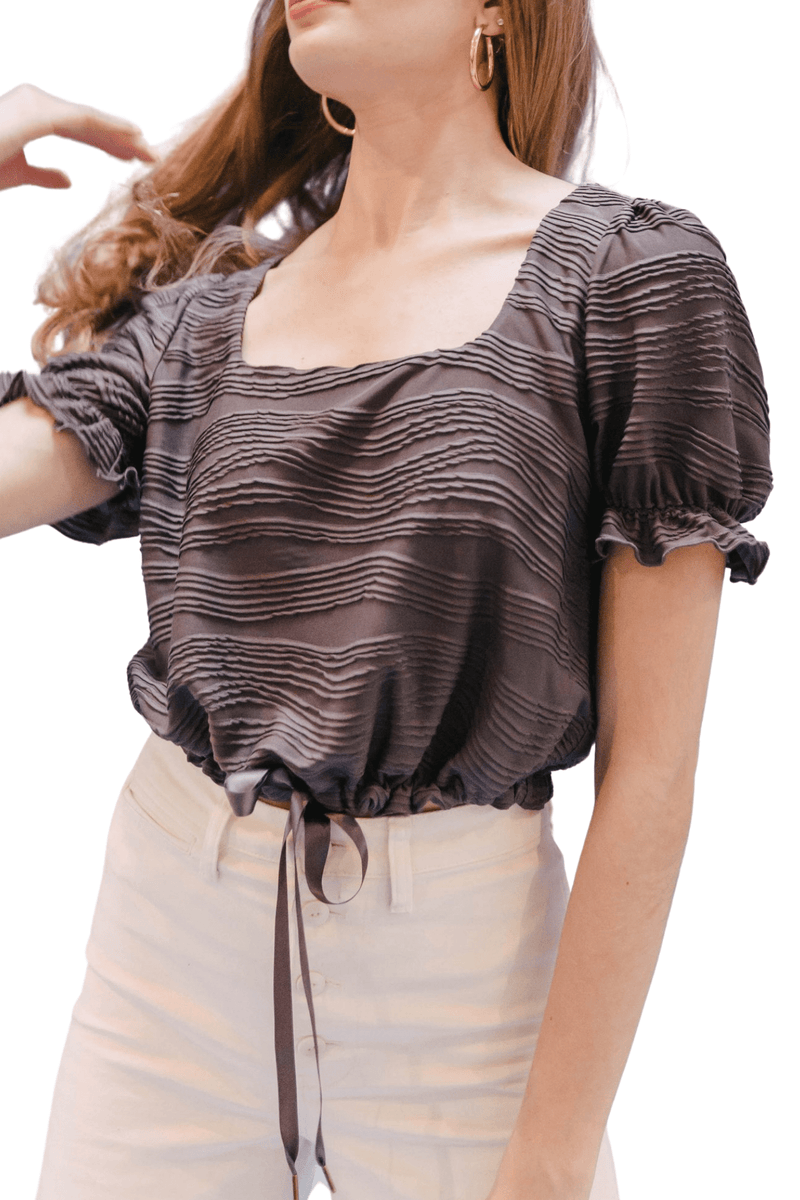 Cinched up square neck top