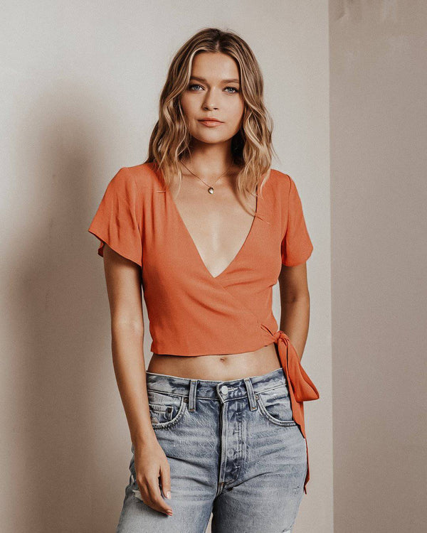 Sweet peach wrap top