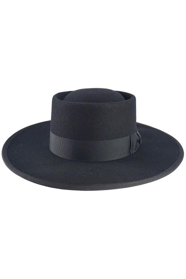 LUX Black Boater Hat