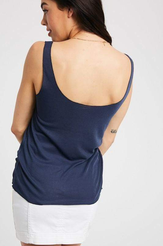 Blue waters ribbed tank