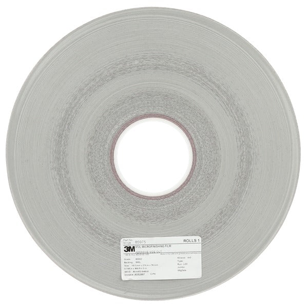 3M™ Microfinishing Film 5MIL Type 2 Yellow Roll 372L, 0.807 in x 900 ft x 1-1/2 in, 60 Micron, Smooth Plastic Core