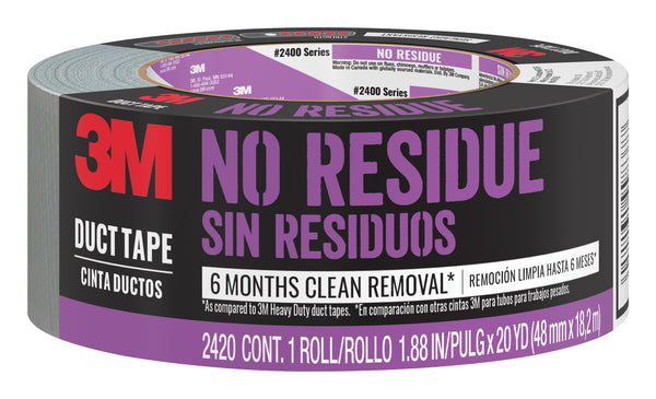 3M™ No Residue Duct Tape, 2420-A, 1.88 in x 20 yd (48,0 mm x 18,2 m), 12 rolls/cs