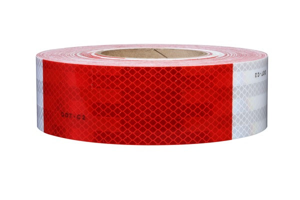 3M™ Diamond Grade™ Conspicuity Markings 983-326, Red/White, 28420, 2 in x 50 yd, 1/Carton, kiss-cut every 12 in