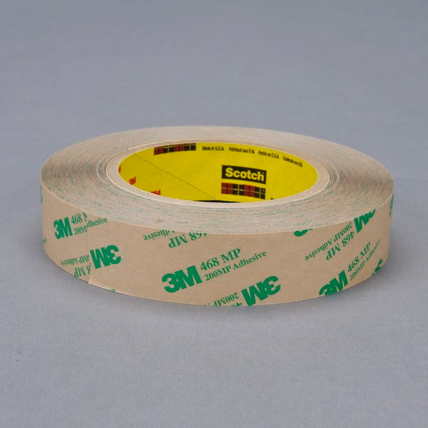 3M™ Adhesive Transfer Tape 468MP, Clear, 1 in x 60 yd, 5 mil, 36 rolls per case