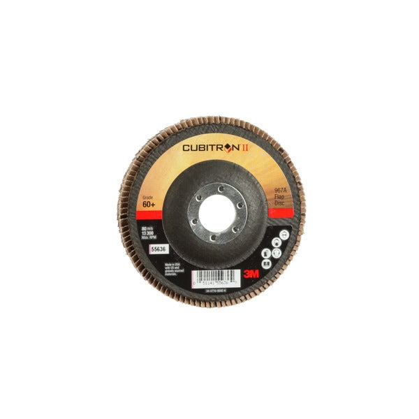 3M™ Cubitron™ II Flap Disc 967A, T27, 4-1/2 in x 7/8 in, 60+ Y-weight, Giant, 10 per case