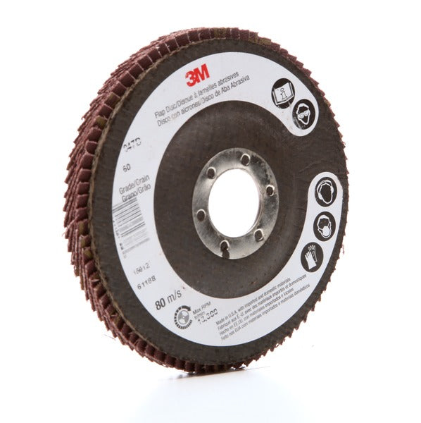 3M™ Flap Disc 947D, T27, 4-1/2 in x 7/8 in, 60 X-weight, 10 per case