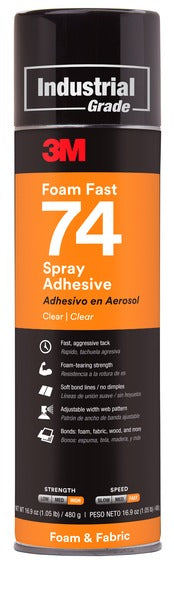 3M™ Foam Fast Spray Adhesive 74, Clear, 24 fl oz Can (Net Wt 16.9 oz), 12/Case, NOT FOR SALE IN CA AND OTHER STATES