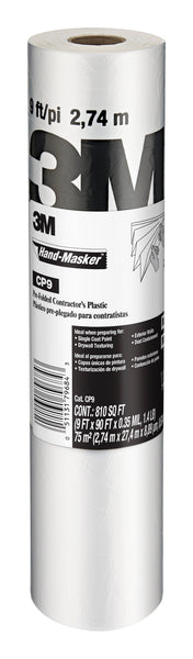 3M™ Hand-Masker™ Contractor's Plastic CP9, 9 ft x 90 ft x 0.00035 in (2.74 m x 27,4 m x .00889 mm), 1 Roll/Pack