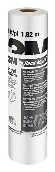 3M™ Hand-Masker™ Contractor's Plastic CP6, 6 ft x 90 ft x 0.00035 in, (1,82 m x 27,4 m x .00889 mm), 1 Roll/Pack