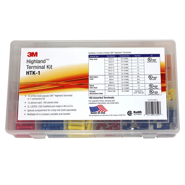 3M™ Highland™ Terminal Kit, HTK-1, 180 pieces, refillable kit is compact, portable and durable, 4 Kits/Case