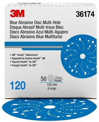 3M™ Hookit™ Blue Abrasive Disc Multi-hole, 36174, 6 in, 120 grade, carton of 50