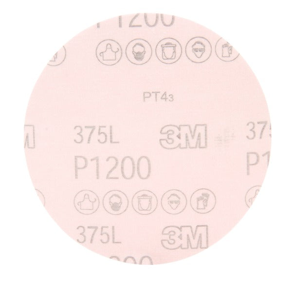 3M™ Hookit™ Film Disc 375L, P1200, 6 in x NH, Die 600Z, 50 per inner, 250 per case