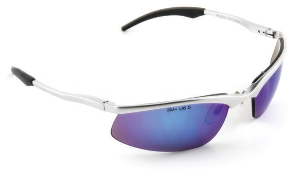 3M™ Safety Sunwear SS1428AS-S, Silver Aluminum Frame, Blue Mirror AS Lens, 10 EA/Case
