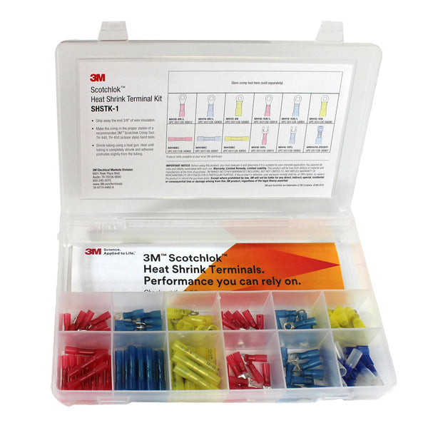 3M™ Scotchlok™ Heat Shrink Terminal Kit, SHSTK-1, 120 pieces, refillable kit is compact, portable and durable, 4 Kits/Case