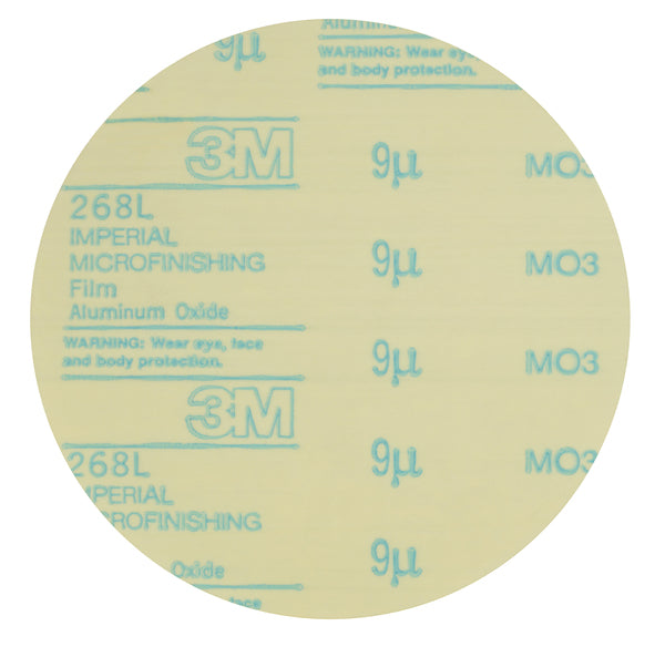3M™ Microfinishing PSA Film Disc 268L, 30 Mic, Type D, Green, 1/2 in x NH, Die 50E