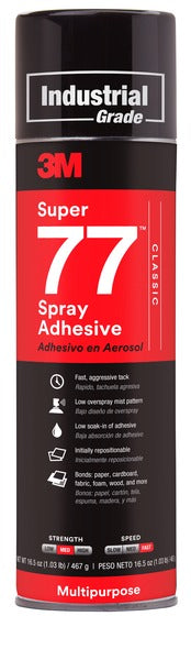 3M™ Super 77™ Classic Spray Adhesive, Clear, 24 fl oz Can (Net Wt 16.5 oz), 12/Case, NOT FOR SALE IN CA AND OTHER STATES