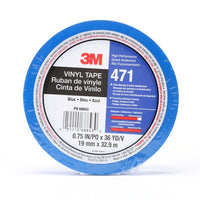 3M™ Vinyl Tape 471, Blue, 3/4 in x 36 yd, 5.2 mil, 48 rolls per case, Individually Wrapped Conveniently Packaged