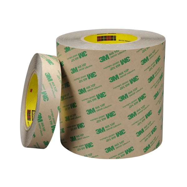 3M™ Adhesive Transfer Tape 468MP, Clear, 24 in x 120 yd, 5 mil, 1 roll per case