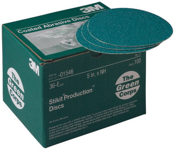 3M™ Green Corps™ Stikit™ Production™ Disc, 01546, 5 in, 36 grit