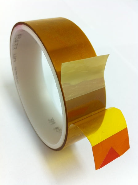 3M™ Linered Low-Static Polyimide Film Tape 5433 Amber, 2 in x 108 yds x 2.7 mil, 6/Case, Bulk