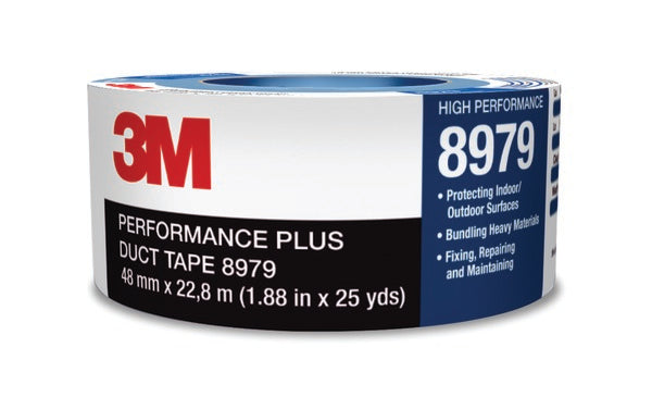 3M™ Performance Plus Duct Tape 8979, Black, 72 mm x 54.8 m, 12.1 mil, 12 per case