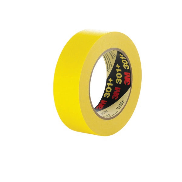 3M™ Performance Yellow Masking Tape 301+, 12 mm x 55 m, 6.3 mil, 72 per case